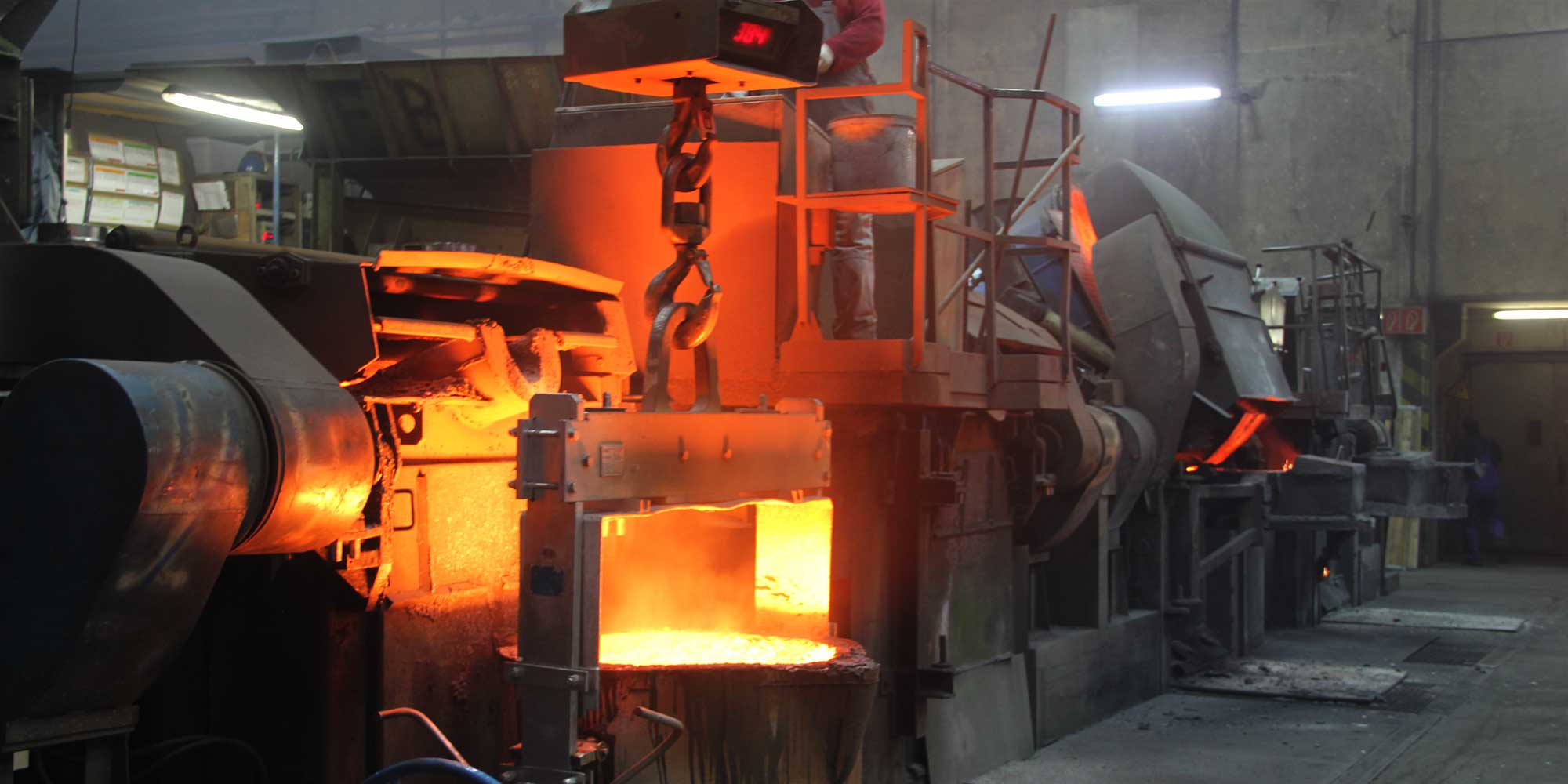 At the casting furnace